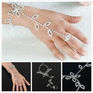 Rhinestones Leaf Hand Ring Bracelet NWT